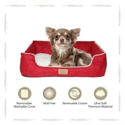 Yappy Dakota Small Dog Bed   Red Suede - Dog Nappers Dog Beds