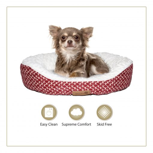 Woofers Slaney Small Dog Bed   Red & White - Dog Nappers Dog Beds