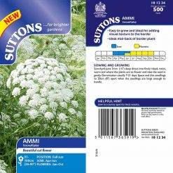 Ammi Seed - Snowflake by Suttons Seeds  101234  Nationwide Delivery On Flower Seeds