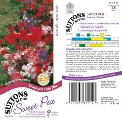Sweet Pea Seeds - Fragrant Tide Mix by Suttons Seeds  133334  Nationwide Delivery On Flower Seeds
