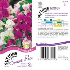 Sweet Pea Seeds - Everlasting Mix by Suttons Seeds  133476  Nationwide Delivery On Flower Seeds