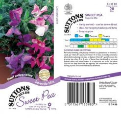 Sweet Pea Seeds - Sweetie Mix by Suttons Seeds  133980  Nationwide Delivery On Flower Seeds