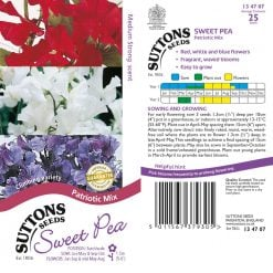 Sweet Pea Seeds - Patriotic Mix by Suttons Seeds  134707  Nationwide Delivery On Flower Seeds