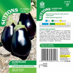 Aubergine - Galine by Suttons Seeds  150907  Nationwide Delivery