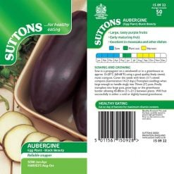Aubergine Black Beauty by Suttons Seeds  150922  Nationwide Delivery