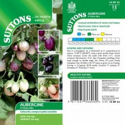 Aubergine F1 Patio Mix by Suttons Seeds  150923  Nationwide Delivery