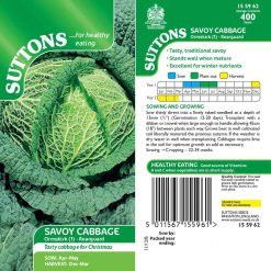 Savoy Cabbage Ormskirk 1 - Rearguard by Suttons Seeds| 155962| Nationwide Delivery