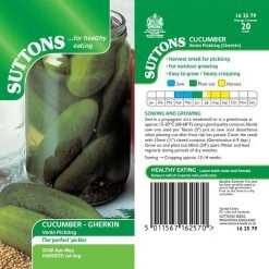 Cucumber Gherkin Venlo Pickling by Suttons Seeds  162579  Nationwide Delivery