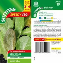 Leaf Salad Cos Lettuce Mix Speedy Veg by Suttons Seeds| 166760| Nationwide Delivery