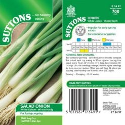 Salad Onion White Lisbon Winter Hardy by Suttons Seeds| 173497| Nationwide Delivery