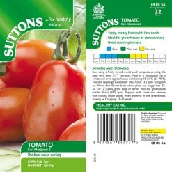 Tomato San Marzano 2 by Suttons Seeds  180556  Nationwide Delivery